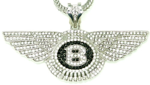 WINGS Iced Out New Pendant /& 36 Inch Long Franco Necklace B Style Chain
