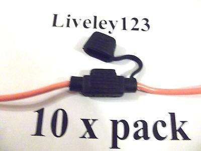 In-line  Mini  Blade   Fuse  Holder  x 10  pack Waterproof  30A 12v 12volt