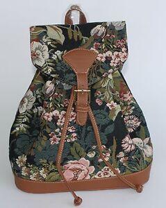 Blumen-Rucksack-Gobelin-Damen-Tasche-Moonflower-Pfingstrose