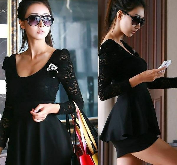 Women Sexy Sleeve Long Lace Clubbing Cocktail Party Dress Mini Evening Black