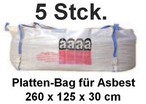 5x plattenbag asbest big bag 260x125x30 cm plattensack asbest platten entsorgung ebay. Black Bedroom Furniture Sets. Home Design Ideas