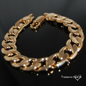 Heavy 18k Yellow Gold Filled 12mm Solid Curb Link Chain