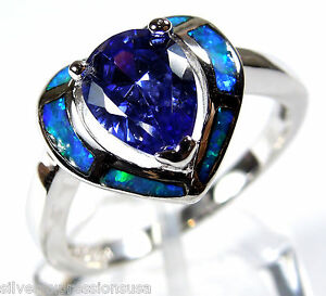 Tanzanite-and-Blue-Fire-Opal-Inlay-925-Sterling-Silver-Heart-Ring-size-6-7-8-9
