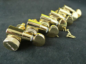 6 in line schecter locking tuners guitar tuning machine head pegs gold new ebay. Black Bedroom Furniture Sets. Home Design Ideas