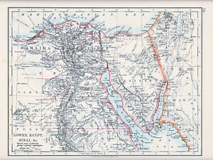 1912 MAP ~ LOWER EGYPT SINAI ~ PENINSULA