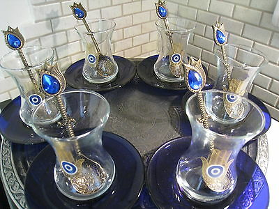 Turkish Tea Serving Set-Glasses,Saucers,Spoons,Tray FATIMA HAND EVIL EYE MOTIF