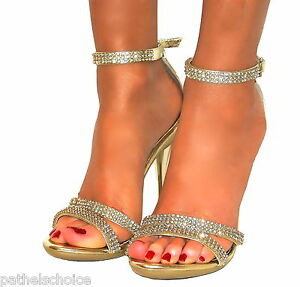 LADIES DIAMANTE GOLD STRAPPY ANKLE SANDALS SHOES HEELS WEDDING ...