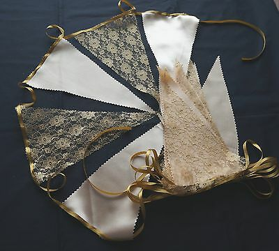 18 foot GOLD LACE SATIN FABRIC BUNTING FLAGS CHURCH WEDDINGS  post free