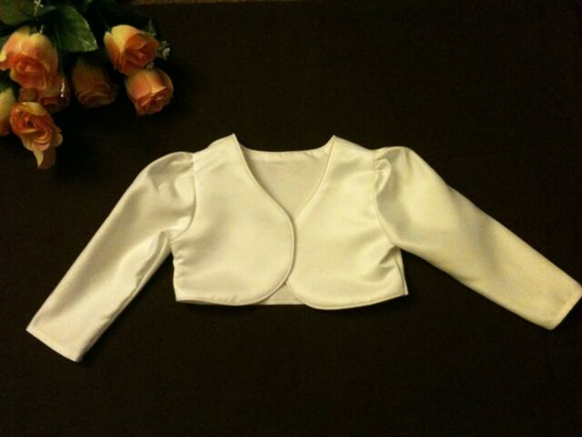 FREEPOST Wedding/Communion//Christening Girls/Baby Bolero Lined LS Jacket 6M-10Y