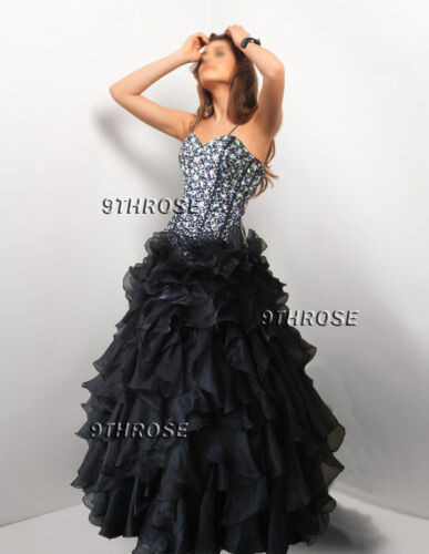DAZZLE JUDGES! BLACK BEADED LACEUP EVENINGFORMALPROMBRIDESMAIDBALL GOWN