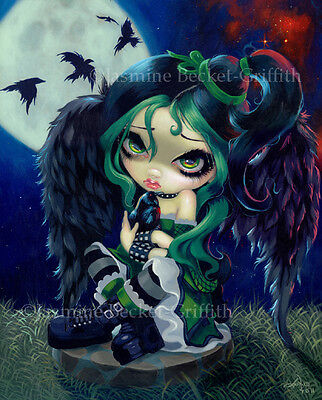 Jasmine Becket-Griffith art print SIGNED Perched and Sat and Nothing More poe