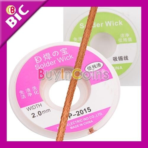 New 2.0MM  2.5FT Desoldering Braid Solder Remover Wick Cable