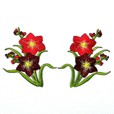 I0620 x1Pair (2pcs) Vintage Flower Boho Sew/Iron On Patch Embroidered Appliques