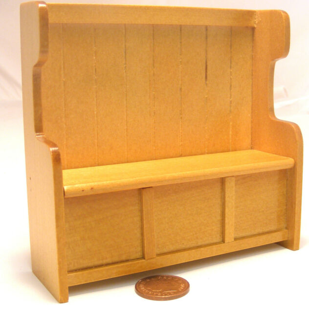 Pine Finish 1:12 Scale Settle Pew Dolls House Miniature Pub Church Accessory