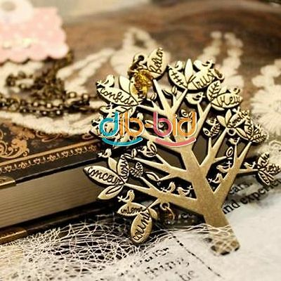 Women Girls Vintage Palace Bird Tree Letters Chain Pendant Sweater Necklace