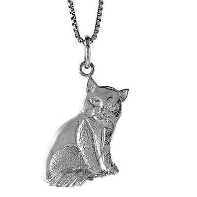 Sterling Silver Cat Pendant / Charm, 18 inch Italian Box Chain   #492p4