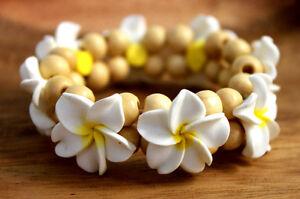 White-Yellw-Plumeria-Fimo-Clay-Bead-Elastic-Bracelet-Anklet-Hawaiian-Jewelry-NEW