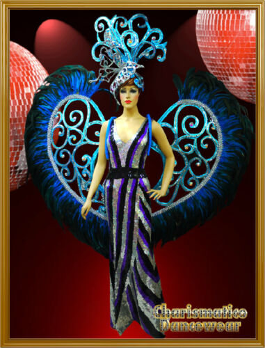 BLUE Transvestite PAGEANT Feather DRAG QUEEN BACKPACK+HEADDRESS+ SEQUIN GOWN SET