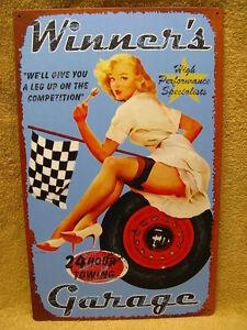 Winner-039-s-Garage-Tin-Metal-Sign-Hot-Girl-FUNNY-HUMOROUS-Man-Cave-Bar-Rec-Room