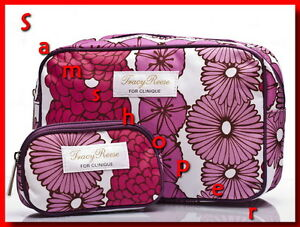 Tracy-Reese-for-Clinique-Cosmetic-Travel-Bags-Set-Floral-New