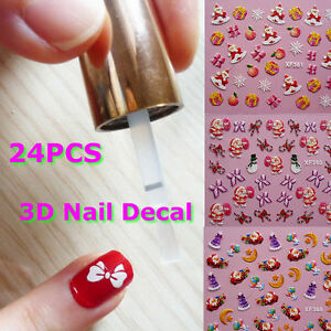 24-X-Colorful-3D-Nail-Art-Father-Christmas-Tree-Snow-Design-Stickers-Sheet-Decal