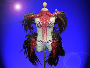 Showgirl-Drag-Queen-Cabaret-Sequin-necklace-Bra-Thong-feather-shoulder-belt