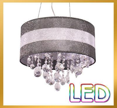Dia. 40cm, 5 Light - Black Bling LED Crystal Drum Light Pendant Lamp Chandelier