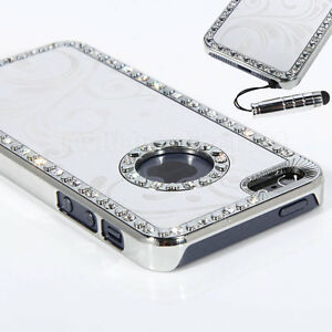 Pen-For-Apple-iPhone-5-Silver-Bling-Diamond-Aluminum-Flower-Hard-Case-Cover
