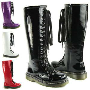 LADIES VINTAGE LACE UP ZIP PATENT WOMENS KNEE HIGH BOOTS PUNK ...