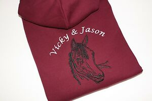 Personalised-Embroidered-Girls-Adults-Riding-Horse-Pony-amp-Text-Hoodie-3-colours