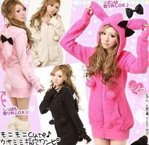 Women-039-s-Cute-Bunny-Ears-Warm-Sherpa-Hoodie-Jacket-Coat-tops-Outerwear