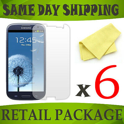 6 Clear front screen protector for Samsung GTi9300 Galaxy S3 III phone accessory