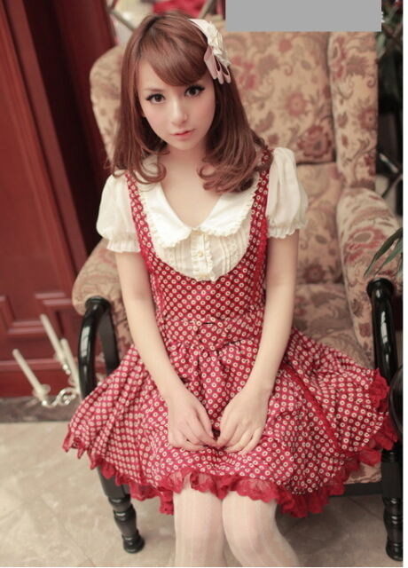 #25 Kawaii Princess Cute Sweet Dolly Gothic Lolita BOWs Floral Dress+Belt Red