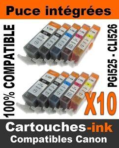 10-CARTOUCHES-INK-ENCRE-COMPATIBLE-PGI-525-CLI526-POUR-CANON-MG6150-MG-6150