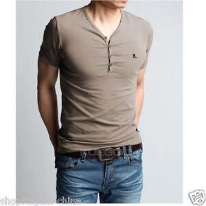 New-Men-039-s-Short-Sleeve-Slim-Cotton-Lycra-Fit-V-Neck-Casual-T-Shirts-Tops-Blouses