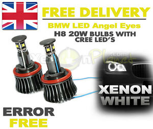 BMW-ANGEL-EYES-LED-LIGHT-20W-CREE-H8-BULBS-DIRECT-REPLACEMENT-NO-CANBUS-ERRORS