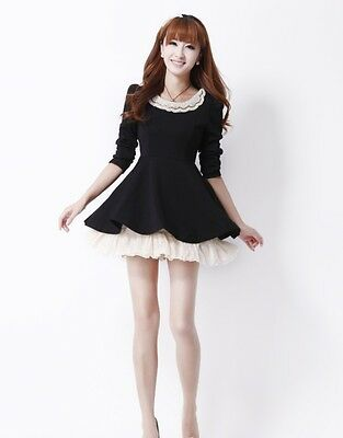 New Sweet Fashion Korean Slim Womens Peter pan collar Puff Lace Dress