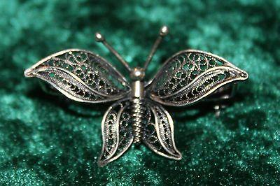 Edle, filigrane Brosche Schmetterling Silber wohl Art Deco