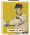 1949 Bowman Johnny Blatnick Philadelphia Phillies #123 Baseball Card