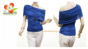 BLU-Boho-Sexy-Off-One-Shoulder-Short-Sleeve-Ruched-Jersey-Shirt-Blouse-Top-S-M-L