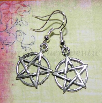 PENTAGRAM EARRINGS~Pewter & Silver Plated~Wicca/Pagan~Made by Purely Therapeutic