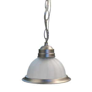 Brushed Nickel And Frosted Melon Glass Pendant Ebay