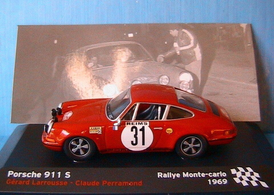 PORSCHE 911S  31 RALLYE MONTE CARLO 1969 LAROUSSE LAROUSSE LAROUSSE PERRAMOND IXO 1 43 REIMS 904af9
