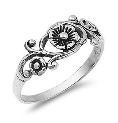 Sterling Silver ring size 4 Heart Rose Flower Celtic Midi Infinity New p04