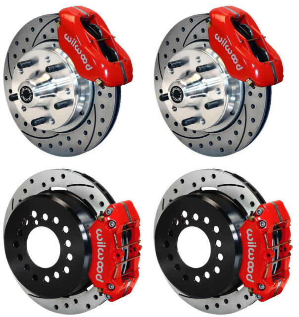 "WILWOOD DISC BRAKE KIT,64-74 GM,11"" DRILLED ROTORS,4 PISTON RED CALIPERS"
