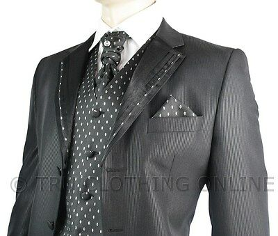 Mens Wedding Party Suit Black Silver Striped Design Waistcoat, Crovat & Handkerc