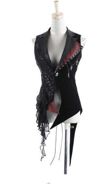 Gothic punk rave UNISEX  visual kei rock cross lace coat jacket blazer vest
