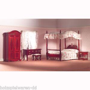 dolls-house-5967-chambre-acajou-lit-Armoire-5-teilig-1-12-maison-de-poupee