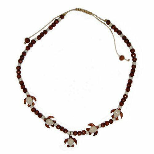 Hawaiian Jewelry Koa Wood and Buffalo Bone Honu Turtle Necklace