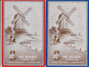 Vintage-Swap-Playing-Cards-2-SINGLE-TEA-ADVERT-WITH-DUTCH-WINDMILL